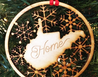 "West Virginia ""Home"" - Wooden Laser Cut/Engraved Christmas Ornament"