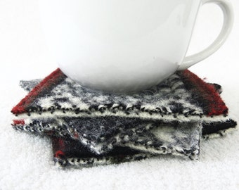 Wool Coasters / Modern Rustic BLACK & WHITE Nordic Sweater Coasters / Recycled Mug Rugs / Ecofriendly Home Decor Housewarming WormeWoole