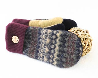 Felted Sweater Mittens BURGUNDY & TAN Fair Isle with Green, Navy / Oxblood Wool Mitts Fleece Lined Eco Gift Unisex Gloves by WormeWoole