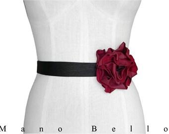 Leather Flower Belt - Boho Bridal Belt - Wedding Dress Belt - Tie Belt - Black  Red Leather Flower - Leather Ribbon Sash - Solo Flower Belt