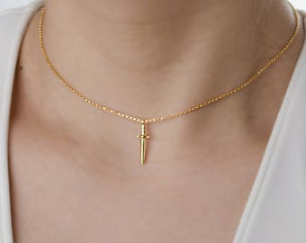 Simple Choker Necklace, Dainty Dagger Charm Necklace, Sterling Silver, Gold Plated,  Gift for Mom, Lunaijewelry, Gift for Mom, NCK105