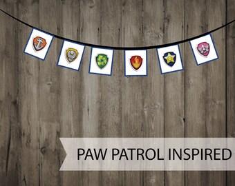 Large Paw Patrol Banner - Paw Patrol Birthday - Paw Patrol Shields Minimalist Banner