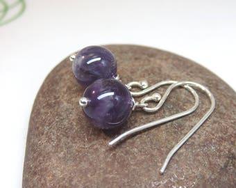 Amethyst earrings - sterling silver - purple gemstone earrings - single amethyst bead earrings - minimalist earrings bridesmaid earrings