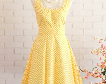 Yellow Dress Yellow Plaid Dress Yellow Prom Dress Yellow Party Dress Yellow Bridesmaid Dresses Yellow Sundress Spring Summer Dresses