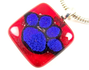 "Dichroic Pendant - Cranberry Red Sapphire Blue Pet Dog Paw Patterned Dichro Crimson Cobalt Navy Dicro Fused Glass Mans Best Friend - 1"" 25mm"