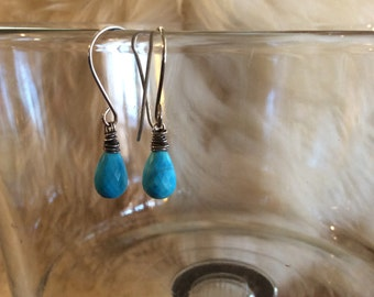 Brilliant Bright Blue Natural Turquoise Dangle Earrings Wire Wrapped Gemstone Earrings