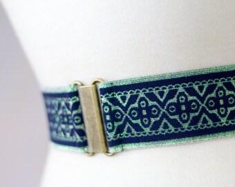 XS blue glitter elastic cinch belt, waist belt for women