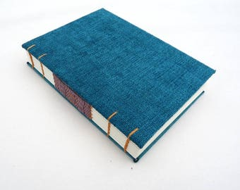 Teal, journal, Coptic, woven spine, notebook, faux suede