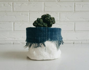 Fringed Indigo and White Mudcloth Plant Cover - Fabric Planter - Boho Home Decor