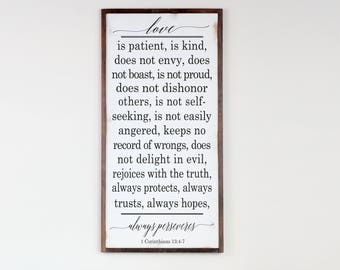 Farmhouse Rustic Wood Sign, Love Is Patient, Farmhouse Design, Home Decor Wood Sign, Scripture Wall Art, Rustic Art, 1 Corinthians 13