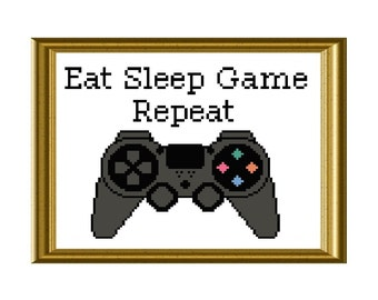 Eat Sleep Game Repeat Playstation Controller Funny Cross Stitch Pattern Video Game Quote