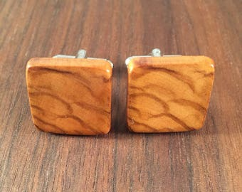 Natural Olive Wood Men's Cuff Links - Wedding, anniversary, any Special Occasion