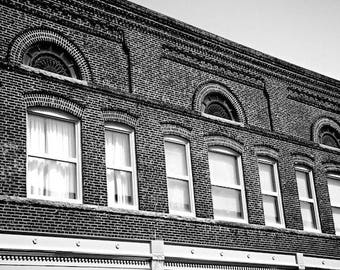 Gainesville Georgia Photography, Black and White Architectural Decor, Historic Building Photos