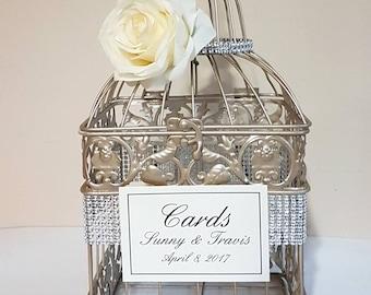 Small Bling Champagne Wedding Card Box-Wedding card holder