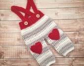 Baby Heart Pants/Valentine's Day Photo Prop/Crochet Baby Pants with Suspenders- Available in Newborn to 12 Month Size- MADE TO ORDER