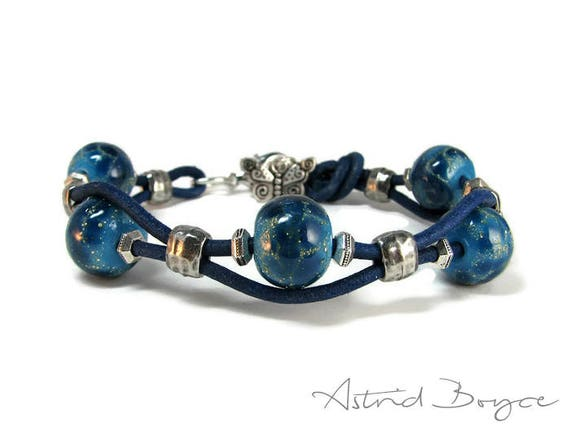 Lapis Royal Blue Layering Stacking Bracelet with Butterfly Charm -Handcrafted Lampwork Beaded Bracelet with Leather and Pewter-Boho bracelet