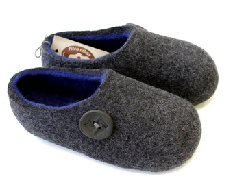 Hand Felted Slippers for Everyone in Gray with Blue inside and Lucky Button decor. Size: EU 42, EU 43 ready to ship!