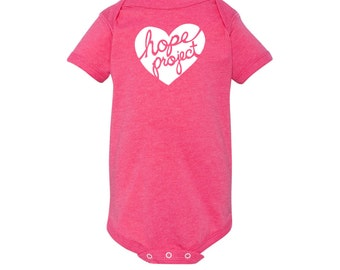 Hope Project - Heart Logo - One Piece Baby Bodysuit - Feed a child in Nicaragua by purchasing this shirt