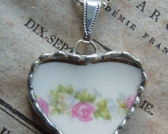 Fiona & The Fig Antique -Broken China - Soldered Necklace Pendant Charm- Jewelry