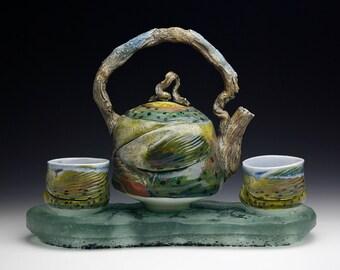 Porcelain Fish Rainbow Trout Teapot Set with Tea bowls River Rock Glass Base Gyotaku