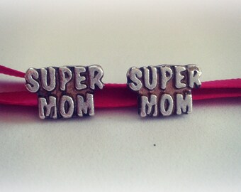 Super Mom Jewelry - Super Mom Studs - Sterling Silver Super Mom Earrings - Mother's Day Gift Jewelry - Motivational Sterling Silver Jewelry