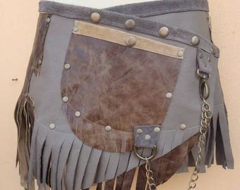 "20%OFF bohemian tribal gypsy fringed leather belt..26"" to 34"" waist or hips.."