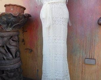 20%OFF wildskin, wedding dress, fantasy wedding, bohemian,bohemian, gypsy, white,OOAK, hippy crochet wedding bridesmaid dress ..small, mediu