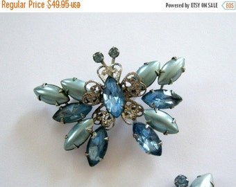 Vintage/ Blue/ Butterfly/ Brooch/ Earring/ Set/Online Vintage/ vintage dress