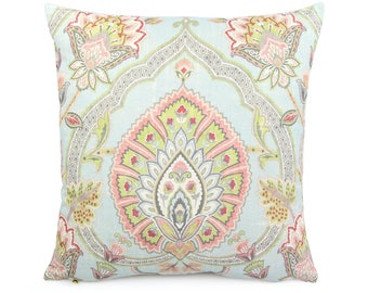 Colorful Blue Pink Ikat Floral Pillow Cover, Bohemian Cushion Sham, Square Eurosham or Lumbar Accent Pillow, Indian Paisley, Carina Powder