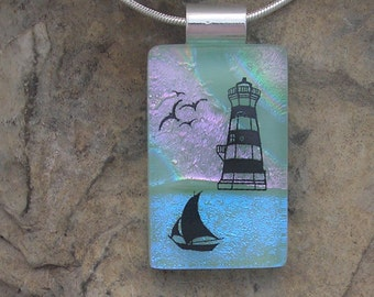 Lighthouse Necklace Dichroic Fused Glass Pendant Lighthouse Jewelery