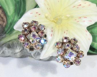 Petite Mid Century AB Aurora Borealis Rhinestone Crystal Earrings, Formal, Dressup, Wedding, Bridal Jewelry, Party