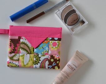 Pink Cosmetic Pouch, Patchwork Quilted Jewellery Bag, Cotton Snap Pouch, Fabric bag