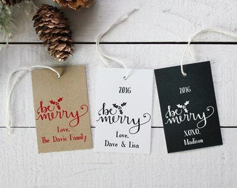Be Merry Holiday Gift Tags | Christmas Gift Tags | Christmas Present Tags | Personalized Holiday Tags | Holiday Favor Tags  - Set of 12