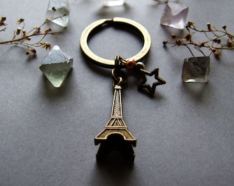 Cute Paris Keychain, Retro Romantic Eiffel Tower Keychain, Adorable Paris Bagcharm