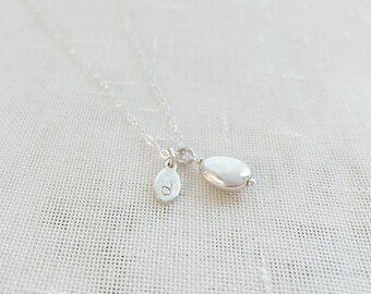 Seed (necklace) - Tiny sterling silver seed charm with a personalized initial tag