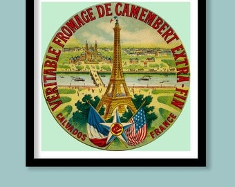Vintage French Cheese Label Print. Paris, Eiffel Tower. 30x30 cm Poster.