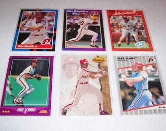 Vintage Lot of 6 Mike Schmidt Baseball Cards