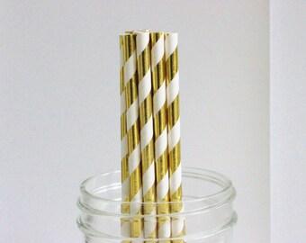 Straws Gold Foil Striped 25+ Paper Drinking Straws / Parties / Mason Jar Straws