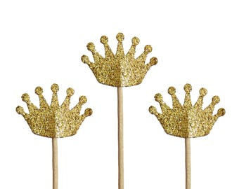 Glitter Gold Crown Cupcake Toppers, Baby Shower Party Decorations - No649