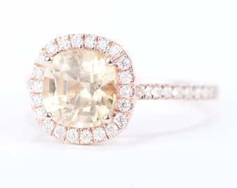 Sale - CERTIFIED - GIA Certified Square Cushion Champagne Peach Sapphire & Diamond Halo Engagement Ring 14K Rose Gold