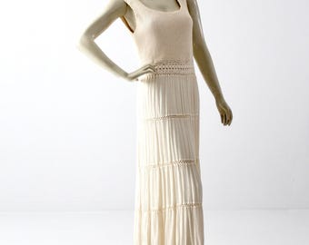 vintage cotton crotchet maxi dress,  beach wedding dress, long sundress