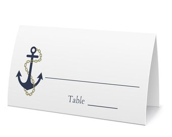 Nautical Anchor Place Cards, Fill In Cards, Table Seating, Wedding Escort Cards - Set of 12, Size 2 x 3.5 inches, Printed Cards