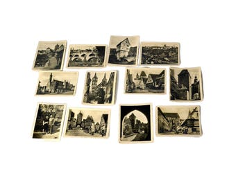 Collection of 12 Vintage Black & White Photos Germany WWII Era, Germany Monuments Rothenburg ob der tauber Photo Cards,