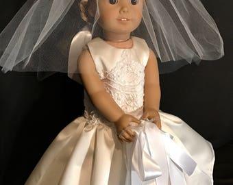 Wedding Dress for American Girl Doll or 18 Inch Doll