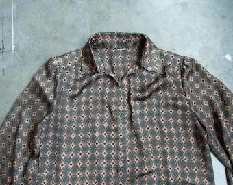 Vtg Satin Green Paisley Dot Silky Semi Satin Blouse Size Small Medium 80s 90s Polyester