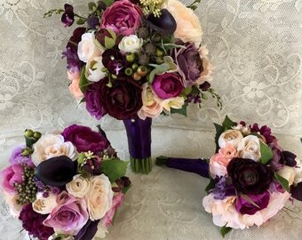 Wedding bouquet,plum purple bridal bouquet,silk wedding flowers,purple bridal flowers,wedding accessory,blush bridal bouquet,vintage wedding