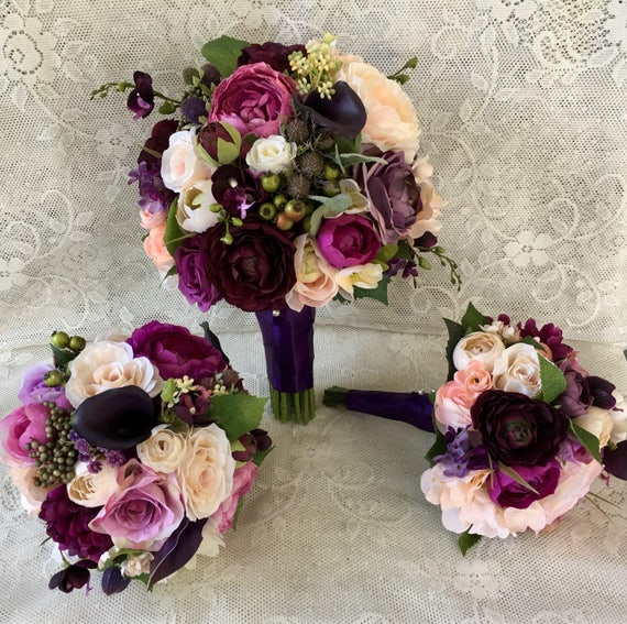 Purple And Pink Wedding Flowers: Wedding Bouquetplum Purple Bridal Bouquetsilk Wedding