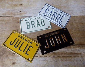 Vintage Bicycle Licence Plate - Gift Tag - Kids Decor - Wrapping Packaging