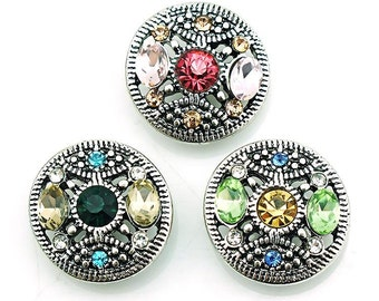 Rhinestone Snap Charm Fits 18-20mm Ginger Snaps, Noosa, Magnolia & Vine, Others Free Shipping
