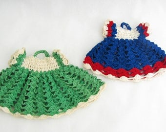 Vintage Set Crochet Little Dresses Potholders